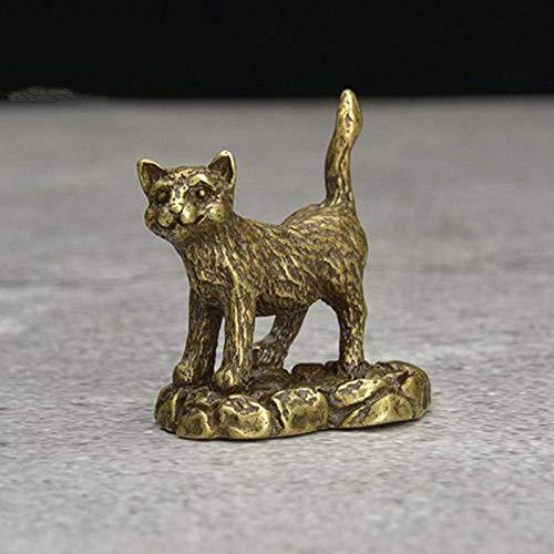 ZWWZ Klassische Bronze Dekoration Kleintier Ornamente Kupfer Niedliche Katze Tee Haustiere Home Desktop Dekore Zubehör Papiergewehr MISU