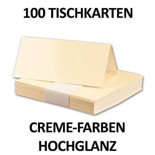 50 Stück - Hochglanz Tischkarten Creme-Elfenbein - Größe: 100 x 90 mm (gefaltet 100 x 45 mm) - 250 g/qm - Sehr schwere und stabile Qualität - Aus der Serie FarbenFroh von NEUSER