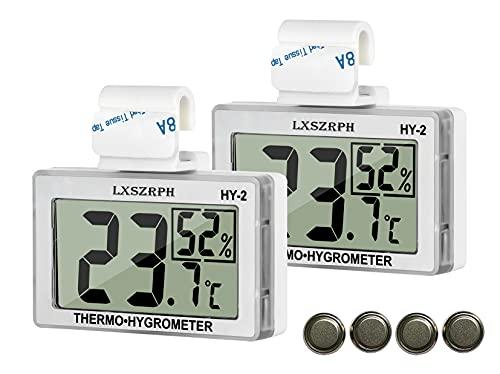 GXSTWU Reptile Hygrometer Thermometer LCD Display Digital Reptile Tank Hygrometer Thermometer with Hook Temperature Humidity Meter Gauge for Reptile Tanks, Terrariums, Vivarium (2 Packs)