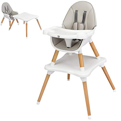 BABY JOY 5 in 1 High Chair, Baby Eat & Grow Convertible High Chair/Booster Seat/Toddler Chair & Table, Infant Wooden Dining Chairs w/5-Point Seat Belt, Removable 4-Position Tray & PU Cushion, Grey