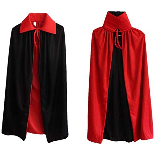 Ecloud Shop® Robe réversible Rouge Noire Goth Devil Pirate Vampire Demon Cape pour Halloween Party Noël de Pâques Enfants Enfants