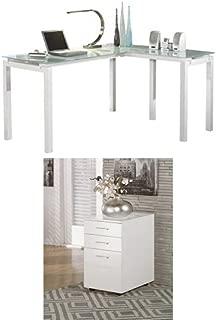 Ashley Furniture Signature Design - Baraga Glass Home Office Desk with File Cabinet - White