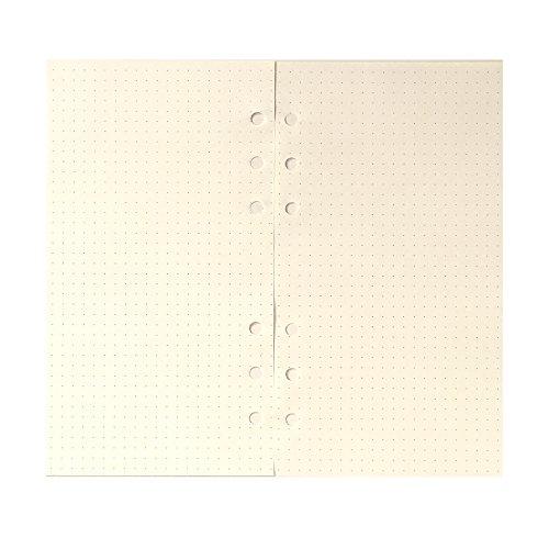 A6 6穴カバー ラウンドリングビューバインダー ファイルフォルダー ルーズリーフシートプロテクター/ノートブック リフィル/DIYスクラップブック/バインダーカバープロテクター, A6 ドット罫手帳リフィル, 1 パッケージ