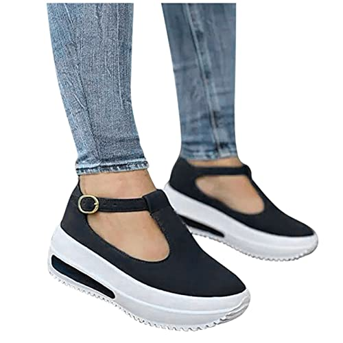 riou Sandalias Mujer Plataforma, Zapatos Mujer Primavera Verano 2021, Sandalias impermeables casuales,Plano Zapatos Romanas Hebilla Zapatillas de Playa
