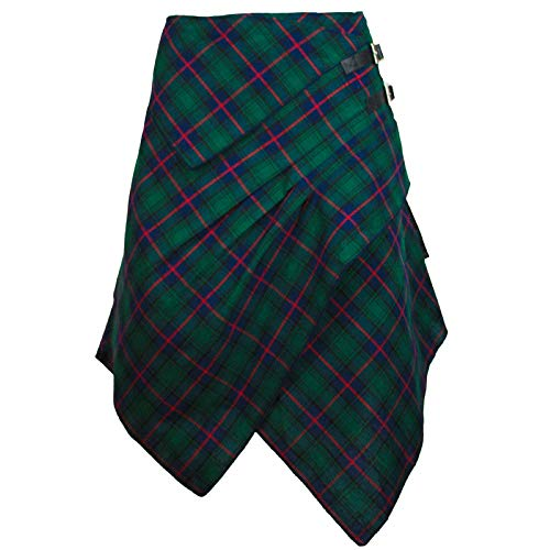 The Celtic Ranch Tartan Skirt, Women's Plaid Skirt with Pockets, Ladies' Traditional Scottish Skirt (Celtic Blue/Green, Small)