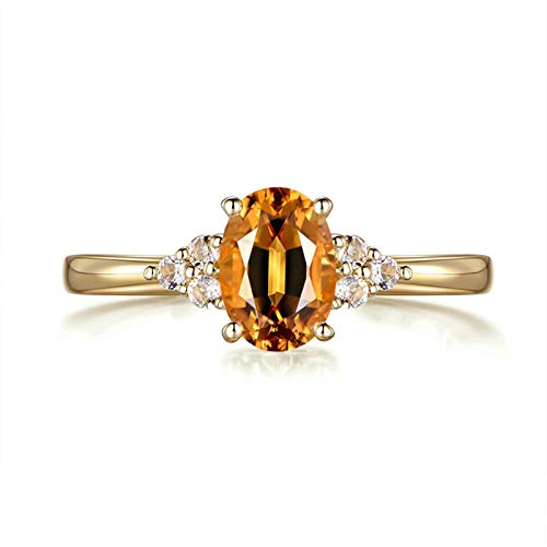 AueDsa Anillo Mujer Oro Anillos de Compromiso Mujer Oro 18K Oval con Citrina Amarilla 0.83ct y Diamante 0.08ct Talla 9,5
