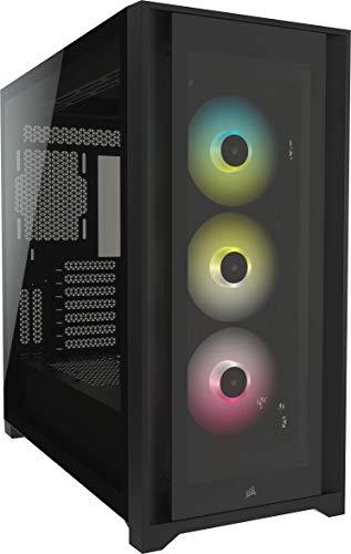 Corsair iCUE 5000X RGB Mid-Tower-ATX-PC-Smart-Gehäuse mit Gehärtetem Glas (Vier Paneele aus Gehärtetem Glas, RapidRoute-Kabelführungssystem, Drei Inbegriffene 120-mm-RGB-Lüfter) Schwarz