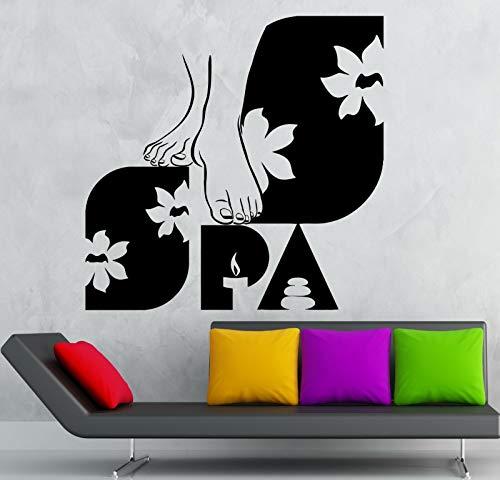 Abkbcw SPA Masaje de pies Etiqueta de la Pared PVC Belleza baño de pies Tatuajes de Pared Chica Mural de la Pared Cartel 56x58 cm