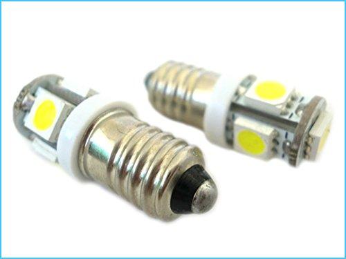 LEDLUX RE7506 Ampoule LED E10 Vis Miniature 5 Smd DC 6V Sans Polarité Lumières Blanc Pour Batteries De Lampe De Poche - 2 Pièces