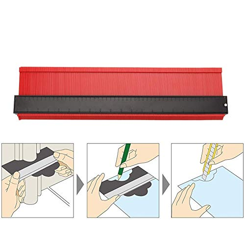 型取りゲージ 500mm 幅広タイプ(13cm幅) 「フルフィルメント by Amazon」ABSプラスチック製型取りゲージ 測定ゲージ 測定工具 曲線定規 測定器 (レッド)