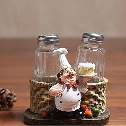 Adornos De Escritorio Mini Decorativos Modelo Resinafiguras De Estatua De Chef De Resina, Pastel, Pan, Cocina, Condimento Decorativo, Botella De Sal De Pimienta, Decoración Del Hogar, Figuras Artesa