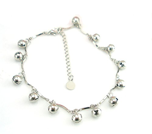 Boowhol Unisex Glocke Freundschaft Fußkettchen Fußkette Armbänder Verstellbar 925 Sterling Silber (Fußkette)