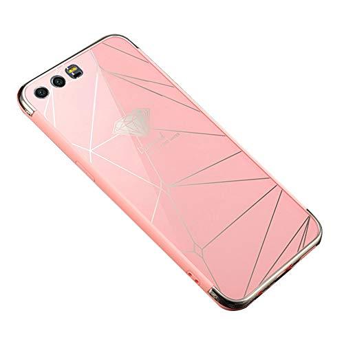 Ysimee Coque Huawei Honor 9, Effet Miroir Étui en PC Dur Housse de Protection Bord en Silicone Gel Antichoc Couleur Plaquée Ultra Mince et Léger Coque pour Huawei Honor 9,Diamant Rose