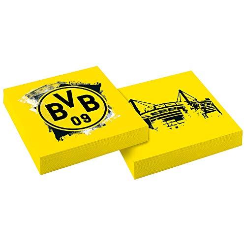 Amscan 9908528 - Servietten BVB, 20 Stück, Größe 33 x 33 cm, Borussia Dortmund, Mundtuch, Einweggeschirr, Fußball, Party, Fan, Geburtstag