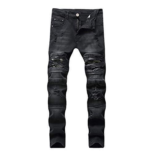 CFWL Vaqueros Rasgados De Hombre Vaqueros Biker EláSticos De Corte Slim Hippies Hombre Pegatinas para Pantalones Pantalones Hip Hop Pantalones Match Hombre Pantalones Campana Hombre Negro 33