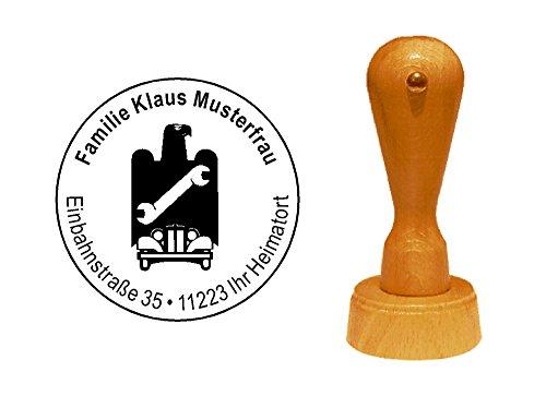 Stempel KFZ ZEICHEN - mit persönlicher Adresse - ca. Ø 40 mm