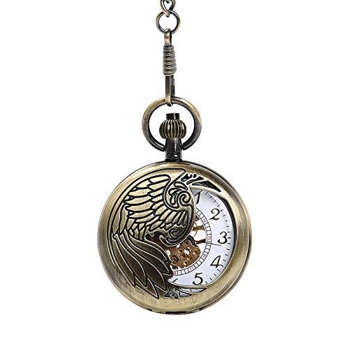 El nuevo reloj de bolsillo grande ahueca hacia fuera exquisito águila tótem blanco ahueca hacia fuera el oro digital reloj de bolsillo mecánico