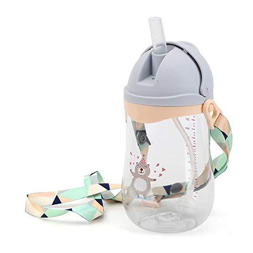 Baby Wasserflasche, Kleinkind Kinder Stroh Trinkflasche Kinder Non-Spill Sippy Cup mit hängendem Seil für Kinder Jungen Mädchen Indoor Outdoor Reisen Verwendung(Grau)