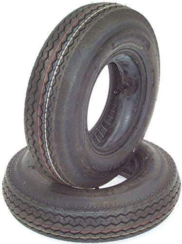 D+L GmbH 2 Stück Anhängerreifen Reifen 4.00-8 mit Schlauch für Kleinanhänger 4.00-8 4.80-8 Anhänger Anhängerrad