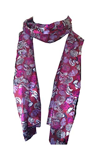 Pamper Yourself Now Weinrot mit grau, lila und weißen kleinen Rosen Schal Glänzende, dünne, schöne Schal (Burgundy with grey, purple and white small roses scarf shiny thin pretty scarf)
