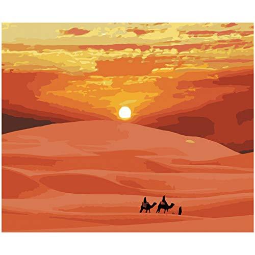 ZYQXI DIY Nombre l'huile Peinture Peinture par numéros Bricolage désert Coucher de Soleil Paysage Art Mural Photo Peinture Acrylique pour la décoration de mariage-16x20inch