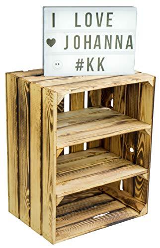 Kistenkolli Altes Land Obstkistenregal Johanna geflammt mit Zwei Zwischenbrettern quer