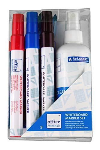 Whiteboard Marker Set - 3 Marker in Schwarz Rot Blau + 1 magnetischer Schwamm + 100ml Reinigungsspray + 4 Magnete - Zubehör Set geeignet für jedes Whiteboard - perfektes Starterset