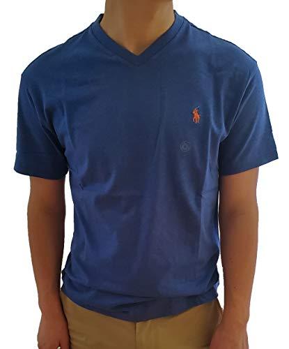 Polo Ralph Lauren Men's Classic Fit V-Neck T-Shirt (X-Large, Blue Heather/Orange Pony)