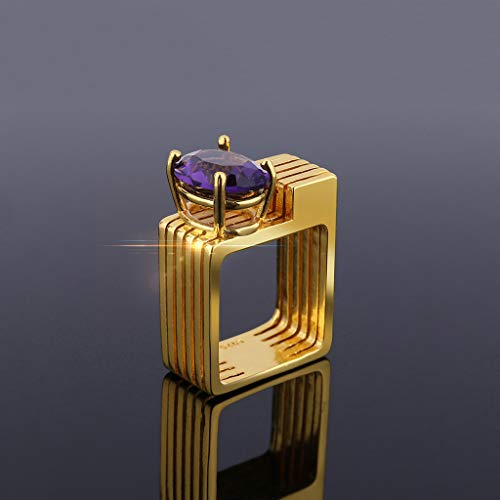 Allywit Ring for Her Engagement Rings for Women Geometric Square Birthstone Rings Gold Purple Plated Wedding Bands for Lady Girl (8, Gold)