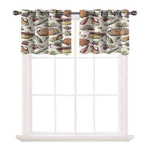oobon 3D Printed Window Cafe Bedroom Bathroom Valance,Winery,Viticulture Grapevine Barrel,for Kitchen Living Decor with Grommet Tier,W42 by L12,2 Panels