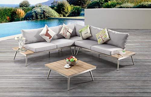 AISER Royal Garten Lounge Set -Barbados- Luxuriöse Sitzecke mit Kaffee Tisch aus hochwertigem Misanbar Kunstholz Gartenmöbel Set