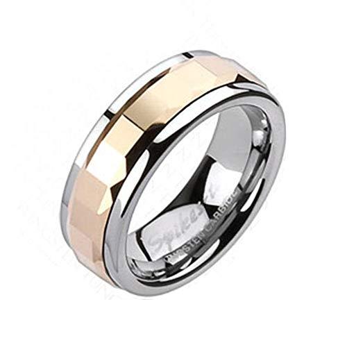 Blue Palm Jewelry - Rings Anillo giratorio de carburo de tungsteno de oro rosa...