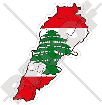 LEBANON Lebanese Map-Flag Libnan Middle East LUBNAN 4   100mm  Vinyl Bumper Sticker Decal