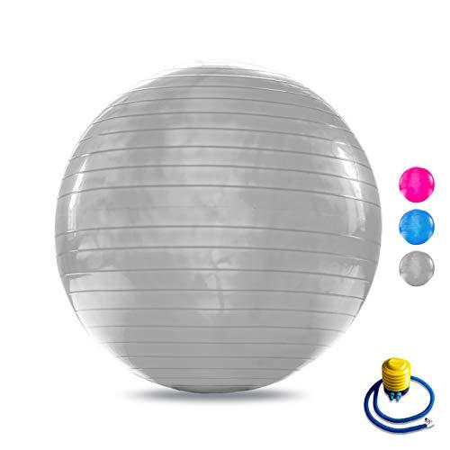 VELOVITA Gymnastikball – Yoga Retreat • grau • 65 cm • inkl. Luftpumpe • rutschfest • Anti-Burst Technologie • Büro-Sitzball • Yogaball • Ball für Yoga, Pilates & Home-Workouts