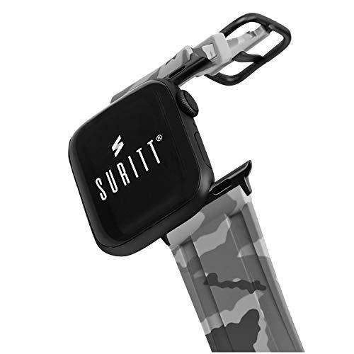 Suritt  Correa para Apple Watch Sport Camo (3 Colores Disponibles). 3 Colores de Hebilla y Adaptador para Elegir (Negro - Plata - Oro)(Series 6, SE, 5, 4, 3). (42mm / 44mm, Grey Camo/Black)
