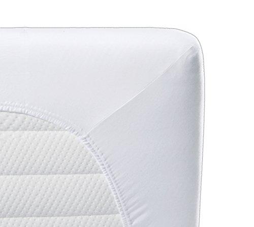 biberna Sleep & Protect 0802760 wasserundurchlässig Spannbetttuch (Matratzenhöhe max. 22 cm) (Molton) 1x 90x200 cm, weiß