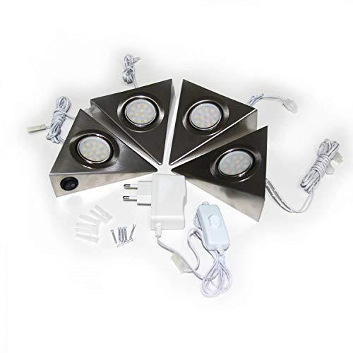 LED Unterbauleuchten Dreieckleuchte 4er Set – Schrankleuchte Küchenbeleuchtung Komplett – hochqualitative VerarbeitungSpots – Edelstahl