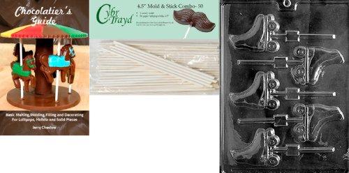 Cybrtrayd 'Rollschuhe Lolly' Sport Schokolade Candy Form mit 5011,4Lollipop Sticks und Chocolatier 's Guide
