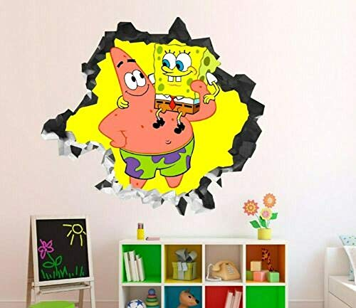 BAOWANG Wandtattoo Spongebob Patrick, der Wandabziehbilddekoration spielt, zertrümmerte Kunstvinyl des Aufklebers 3d