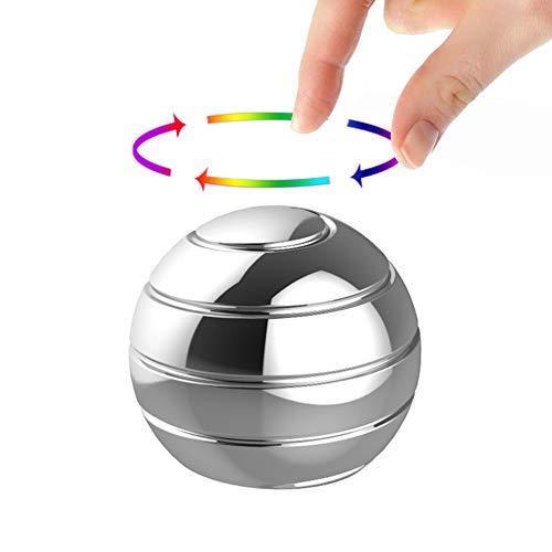 Manzelun Kinetic Desk Toys,Full Body Optical Illusion Fidget Spinner Ball,Gifts for Men,Women,Kids (Small,Silver)