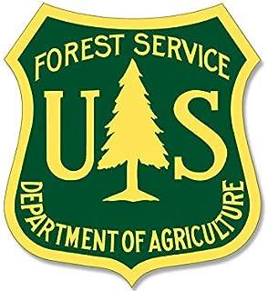 JR Studio 2.5x2.5 inch Green/Yellow US Forest Service Shield Sticker -Logo Hike Forestry Vinyl Decal Sticker Car Waterproof Car Decal Bumper Sticker