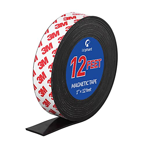 Magnetic Tape, 12 Feet Magnet Tape Roll (1'' Wide x 12 ft Long), with 3M Strong Adhesive Backing. Perfect for DIY, Art Projects, whiteboards & Fridge Organization
