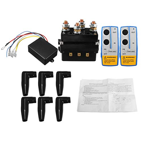 Camisin Contactor de Relé de Solenoide de Cabrestante de 12V 500A + Kit de Control Remoto de Cabrestante InaláMbrico para CamióN ATV 5500-12000Lbs Cabrestante (500A)