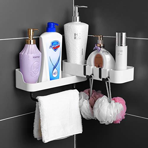 Duschablage Ohne Bohren, Duschregal Badezimmer Eckregal Weiß Duschkorb mit 4 Haken für Küche