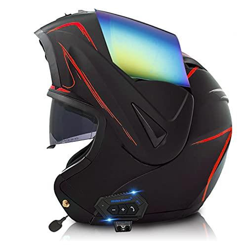 ETScooter Bluetooth Casco Moto Modular, ECE Homologado Casco de Moto Integral para Mujer Hombre Adultos con Anti Niebla Doble Visera, Casco Integrado con 500mA Auriculares Bluetooth