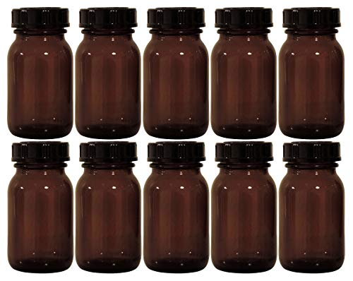 Viva-Haushaltswaren – 10 frascos de farmacia, 100 ml, cristal marrón, incluye etiquetas