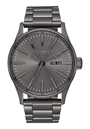 NIXON Sentry SS A356 - All Gunmetal - 100m Water Resistant Men's Analog Classic Watch (42mm Watch Face, 23mm-20mm Stainless Steel Band)