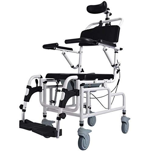 MTYQE Silla reclinable para ducha/inodoro, 4 en 1 multifunción con brazo abatible, reposabrazos, cubo, reposacabezas ajustable, asiento acolchado y respaldo