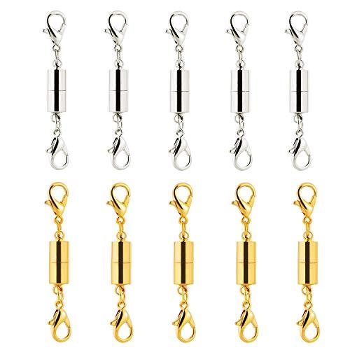 MUCHEN SHOP Magnetverschluss,Magnetische Schmuck Verschlüsse 10er Pack Magnet Karabinerverschluss Schmuckverschlüsse Schmuck Extender für Halskette Armband Silber Gold