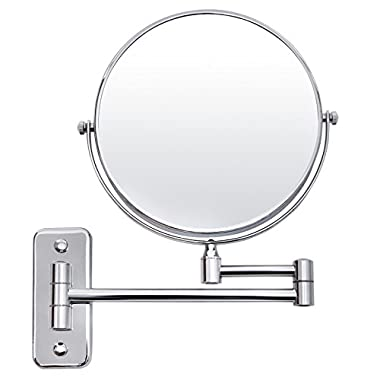 SONGMICS 8  Wall Mount Makeup Mirror 5x Magnifying Two-Sided 360°Swivel Extendable Bathroom Cosmetic Mirror UBBM513